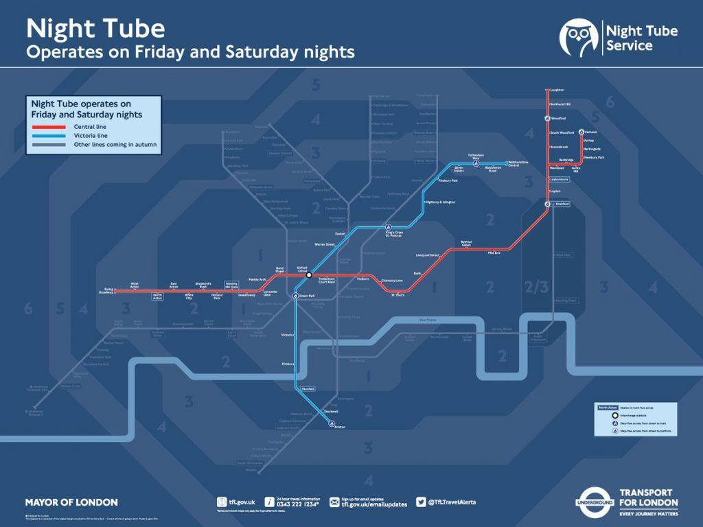 Night Tube Map