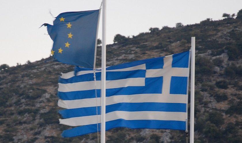 European and Greek Flags